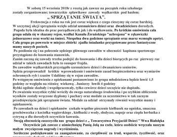 """Zawody spławikowe (sprzątanie świata) 15.09.2018 """"Młyny"""""""