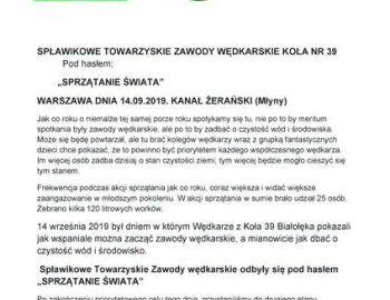 """Towarzyskie zawody spławikowe z okazji """"Sprzątanie Świata"""" 14.09.2019 """"Młyny""""."""