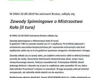 Zawody o Spinningowe Mistrzostwo Koła (II tura) 22.09.2019 Żwirownia Brzóze.
