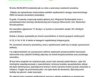 Mistrzostwa szkółek wędkarskich okręgu mazowieckiego PZW na Kanale Żerańskim (Kobiałka).