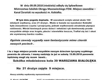 Spławikowe Mistrzostwa Szkółek Okręgu Mazowieckiego PZW.