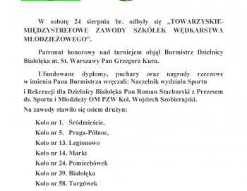 Towarzyskie zawody międzystrefowe Szkółek wędkarstwa młodzieżowego.